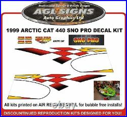1999 ARCTIC CAT ZR 440 SNO PRO Decal Kit Reproductions graphic sticker