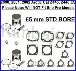 2000 2001 2002 Arctic Cat Z440 Z 440 ES Listed 65 mm BORE Pistons Rebuild Kit