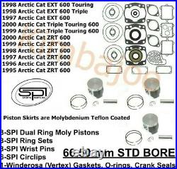 Arctic Cat 600 EXT Triple Touring ZRT 66.50 Pistons Gaskets O-rings Crank Seals