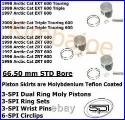 Arctic Cat ZRT 600 & Sleds Listed 66.50 mm STD Bore Moly Piston Kits