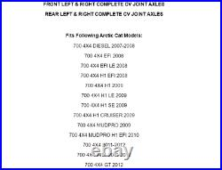 Front Rear Left Right Complete CV Joint Axles for Arctic Cat 700 4X4 2007-2014
