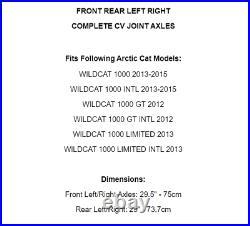 Front Rear Right Left CV Joint Axles for Arctic Cat Wildcat 1000 Gt Ltd 2012-15