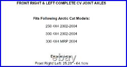 Front Right And Left CV Joint Axles for Arctic Cat 250 300 4X4 2002 2003 2004