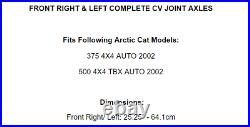 Front Right And Left CV Joint Axles for Arctic Cat 375 4X4 / 500 4X4 Tbx 2002