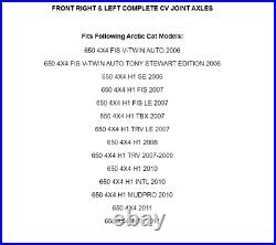Front Right And Left Complete CV Joint Axles for Arctic Cat 650 4X4 H1 V2 06-11