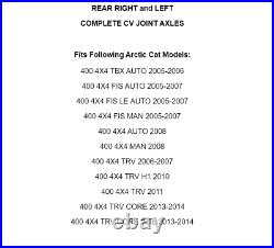 Rear Right And Left CV Joint Axles for Arctic Cat 400 4X4 2005-2008 10 11 13 14