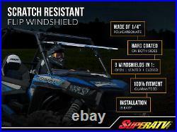SuperATV Scratch Resistant Flip Windshield for Arctic Cat Wildcat Trail (2014+)